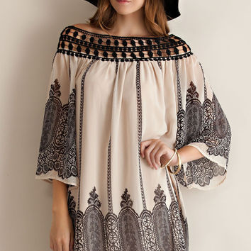 Cathedral Border Print Dress - Taupe