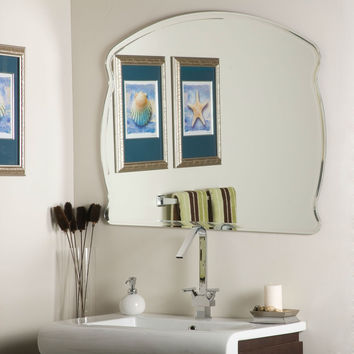 Modern 31.5 x 39.5 Inch Bathroom Wall Mirror with Frameless Beveled Edging