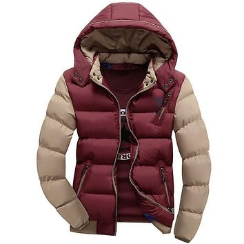 Winter Jacket Men Hooded Thick Padding Jacket Zipper Thin Coat Men's Clothing Warm Man Coat
