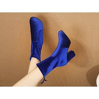Fashion hits the market with casual plus-size high-heeled, pointed women's mid-stretch boots Blue