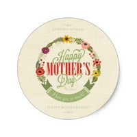 Happy Mother's Day Burlap Floral Wreath Classic Round Sticker