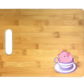 Teacup Pig In A Striped Purple Teacup Cute And Adorable 3D COLOR Printed Bamboo Cutting Board - Wedding, Housewarming, Anniversary, Birthday, Mother's Day, Gift