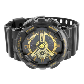 Black Gold Watch Silicone Band Sports Edition