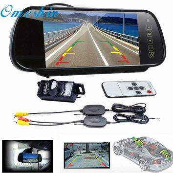 ac NOOW2 New Arrival 7 LCD Mirror Monitor +Wireless Car Reverse Rear View Backup Camera Night Vision jn16