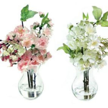 2 Floral Arrangements - Artificial Cherry Blossom In Vase