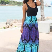 Black Maxi Dress With Multi Color Printed Bottom