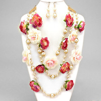 Flower Of Blooms Pearl 3 Row Drop Necklaces