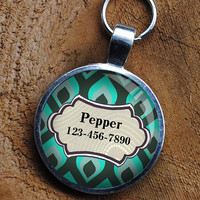 Pet iD Tag green blue patterned colorful round Dog Tag 35mm round -  by California Mutts