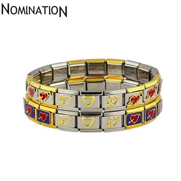 Nomlnatlon Italy Brand Stainless Steel Titanium Bracelets Bangles Cupid Two Hearts One Heart Bracelet Women