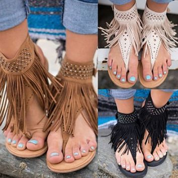 Female tassel open toe rhinestone flip flops flat sandals