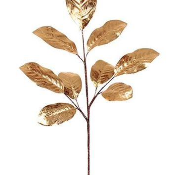 "Artificial Christmas Magnolia Leaf Spray in Metallic Gold - 33"" Tall x 11"" Wide"