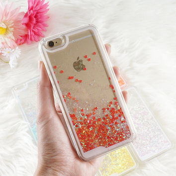 Neon Liquid Glitter Hearts Phone Case, iPhone 6 Holographic Glitter Phone Case Transparent Liquid Glitter Quicksand Phone Case FREE SHIPPING