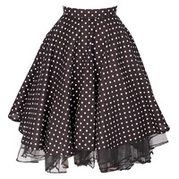 Cheeky Black Polka Dot Skirt with red Lace
