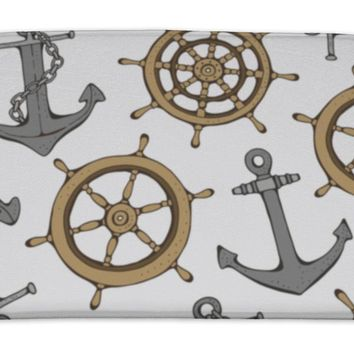 Bath Mat, Pattern With Steering Ship Wheel And Anchor