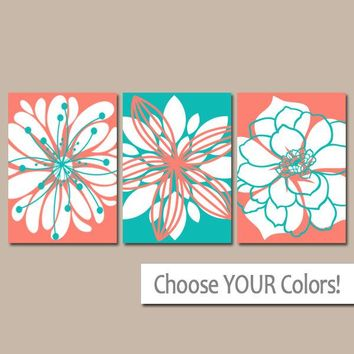 Coral Turquoise Decor, Flower Wall Art, Bedroom Pictures, Canvas or Print, Coral Turquoise Nursery Decor, Flower Bathroom Art, Set of 3