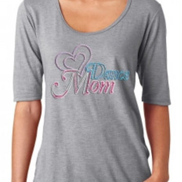 Dance Mom Double Heart Rhinestone Tee