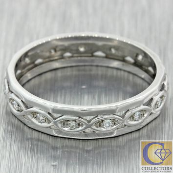 Antique Art Deco 14k White Gold .15ctw Diamond 4mm Eternity Wedding Band Ring