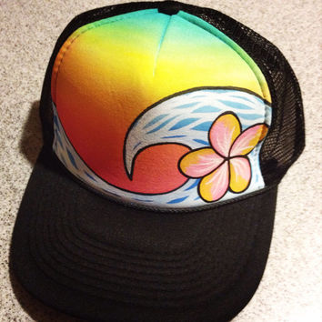 Plumeria wave handpainted trucker hat