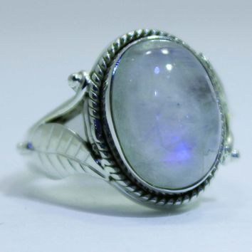Sterling Silver Rainbow Moonstone Leaf Rings