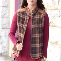Fantastic Plaid Flannel + Fur Lined Vest {Mocha}