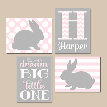 Girl BUNNY Nursery Wall Art, Pink Gray Nursery, Baby Rabbit Artwork, Dream Big Girl Bedroom Pictures, CANVAS or Prints Set of 4 Decor