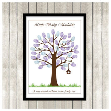 Baby Shower Printable Thumbprint Tree Guest Book Poster, Nursery Wall Art, Custom Text, Color and Language available