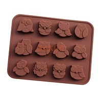 DIY tools silicone chocolate mold with 12 holes owl FDA quality animal mold CDSM-286