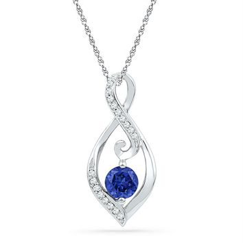 10kt White Gold Womens Round Lab-Created Blue Sapphire Solitaire Diamond Pendant 1-10 Cttw