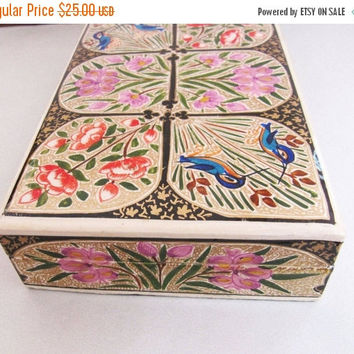 SALE 3.00 OFF Vintage Hand Painted Decorated Jewellery Box, Birds and Flowers on Box,  Vintage Pretty Wooden Box, Lined with Black Velvet