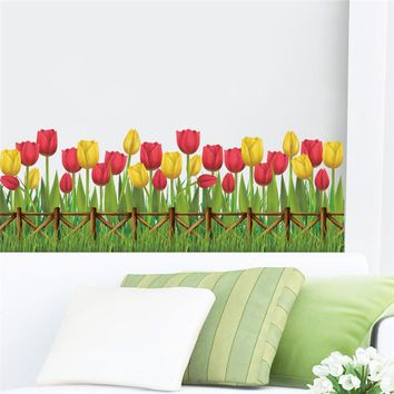 Tulip Flower Plant Wall Stickers Home Garden Window Kitchen Decoration Living Room Bedroom DIY Mural Poster Mom Gift