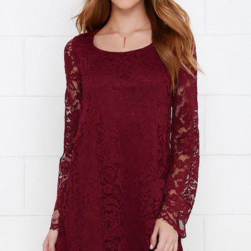 Natural Knack Burgundy Long Sleeve Lace Dress