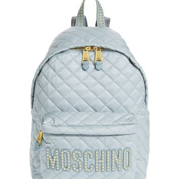 Moschino Studded Logo Quilted Nylon Backpack | Nordstrom