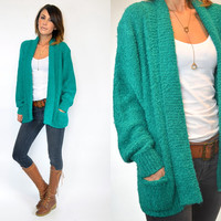 nubby EMERALD baggy bouclé GRUNGE oversized grandpa CARDIGAN duster, extra small-medium