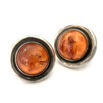 Silver and Amber Earrings, Pierced Button Earrings, Round Cognac Amber Cabochons, Oxidized Silver Surround, Vintage Pierced Earrings