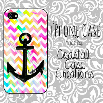 Hope Anchor and Colorful Chevron Quote Apple iPhone 4 and 5 Hard Plastic or Rubber Phone Case Cover Original Design