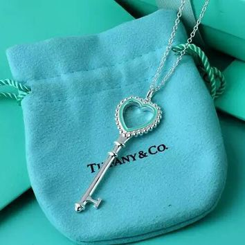 Tiffany enamel heart shaped necklace