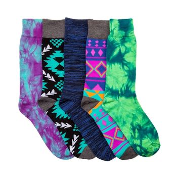 Mens Tribal Crew Socks 5 Pack