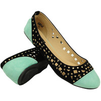 Women's Ballet Flats Color Contrast Cutout With Rhinestones Comfort Shoes Mint