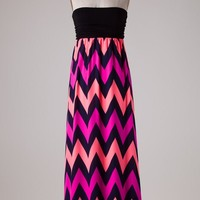 Nymphe Black Strapless Maxi Dress with Neon Coral, Fuchsia, and Navy Chevron Design