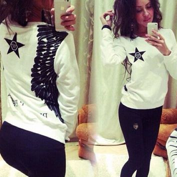 White Star Wings Print Sweater
