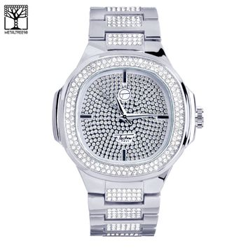 Jewelry Kay style Men's Fashion CZ Icy Techno Pave Heavy Silver Toned Metal Band Watch WM 8403 S