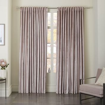 Luster Velvet Curtain - Dusty Blush
