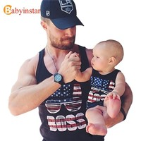 Summer 2016 Family Matching Outfits T-shirt Vest Family Look Tees America Flag Father Son Clothes Family Set Sleeveless t Shirt