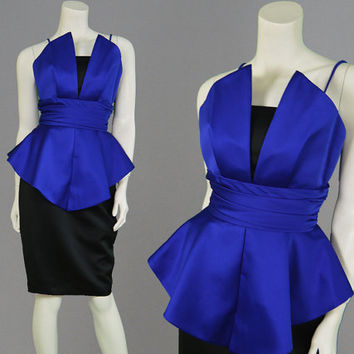 Vintage 80s Party Dress Cobalt Blue Peplum Dress Sexy Dress Glam Dress X Small XS Office Avant Garde Pointed Bust Made in USA Fit & Flare