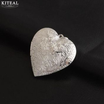 Kiteal Photo Frame Memory Locket Pendant Necklace Silver Color Love Heart Vintage Engraved leaf flower Jewelry Women Gift P326