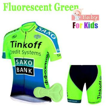 2018 Breathable Quick Dry Kids Cycling Jersey Set Shorts Fluorescent Pink Children Bike Clothing Boys Girls Summer Bicycle Wear