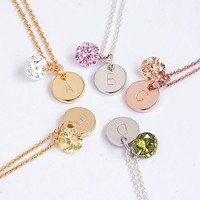 Tiny Round Disc Initial CZ Charm Necklace, Gold / Silver / Pink Gold, 5 CZ Color Option, Personalized Bridesmaid Gift, WJ ij lj gj