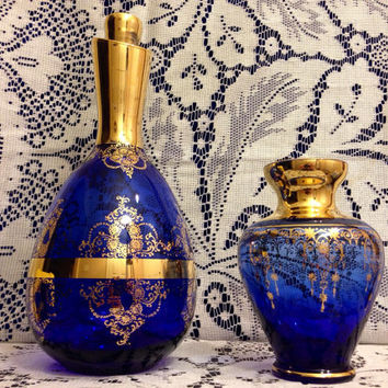 Cobalt Blue Decanter Set and Carafe with Cordial/ Wine Glasses Murano Italian Set RARE- Vintage 1960's