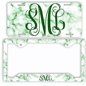 White Green Marble Look License Plate Car Tag Monogram Frame Personalized Set Custom Initials Car Coasters