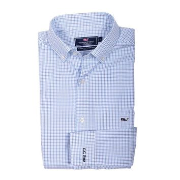 Custom Twin Pond Tattersall Classic Tucker Shirt in Ocean Breeze by Vineyard Vines